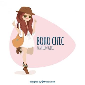 Мода девушка с boho шикарной одежды