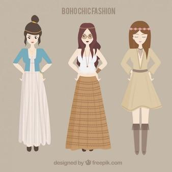 Хиппи девушки с boho одежды