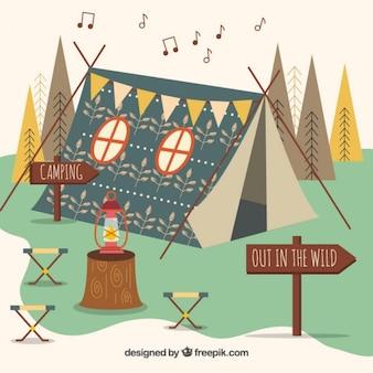 Ручной обращается boho палатка в плоский пейзаж