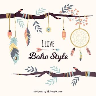 Стиль стиля boho с плоским дизайном