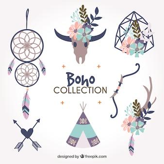 フラットデザインのboho要素コレクション