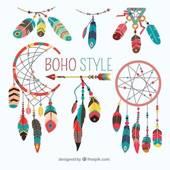 Коллекция элементов boho с плоским дизайном