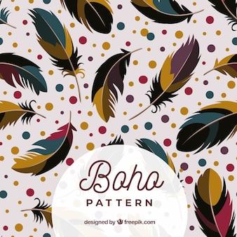 Красочный узор boho с плоскими перьями