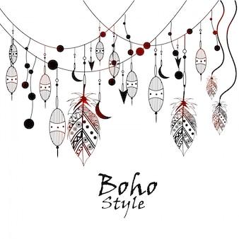 黒と白の部族のベクトルテンプレートbohoパターン
