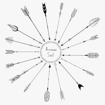 Векторный набор стрелок boho для украшения
