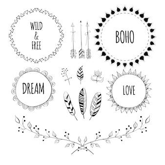 Набор рамок в стиле boho и нарисованный от руки элемент