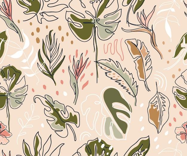 몬스테라 잎과 다른 잎 텍스처가 있는 보호미안 매끄러운 패턴 섬유 포장 포장지 소셜 미디어 포스트
