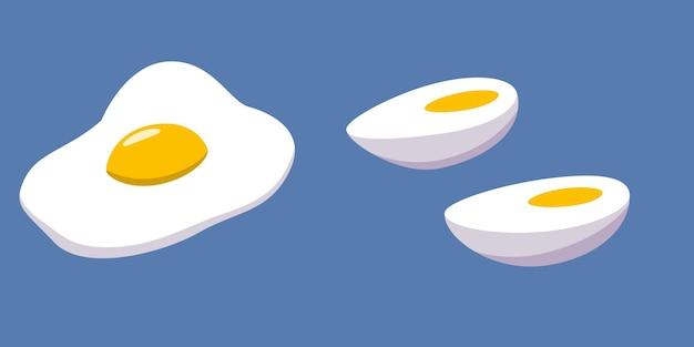 Вареное и разбитое яйцо с желтком половина яйца