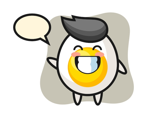 Boiled egg cartoon character doing wave hand gesture