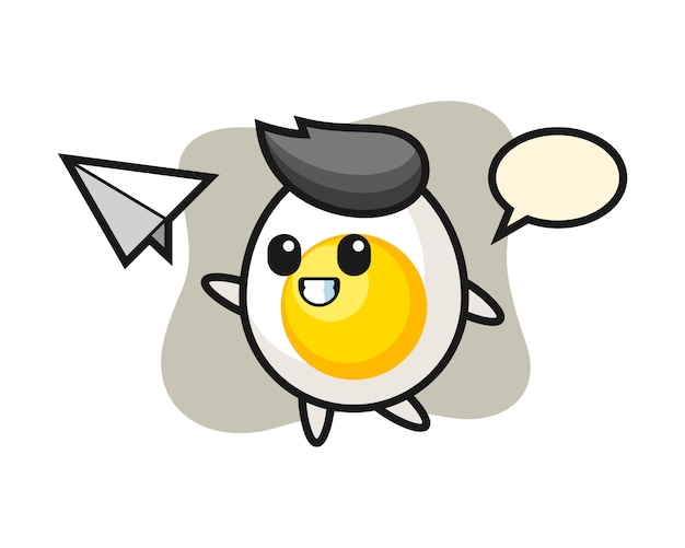 Boiled egg cartoon character throwing paper airplane