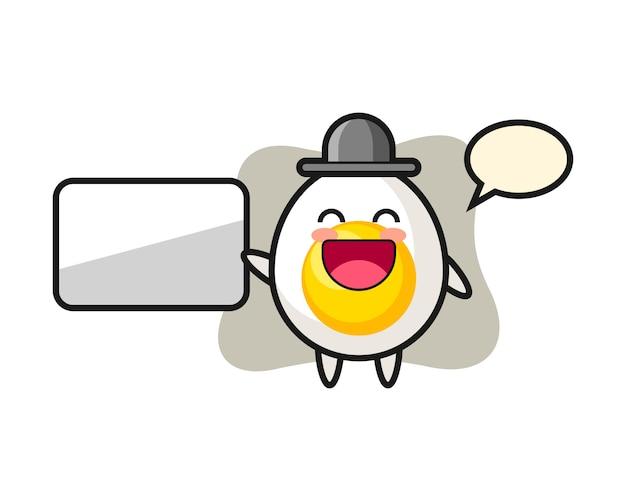Boiled egg cartoon illustration doing a presentation