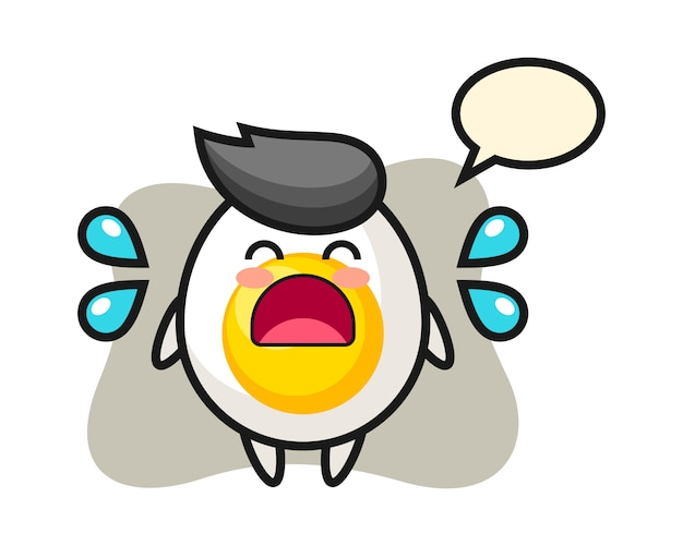 Boiled egg cartoon illustration with crying gesture