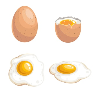Boiled egg and fried eggs