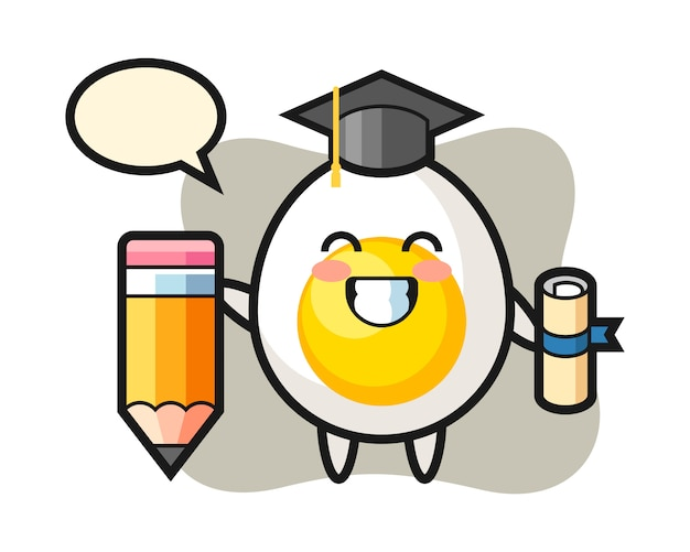 Boiled egg illustration cartoon is graduation with a giant pencil