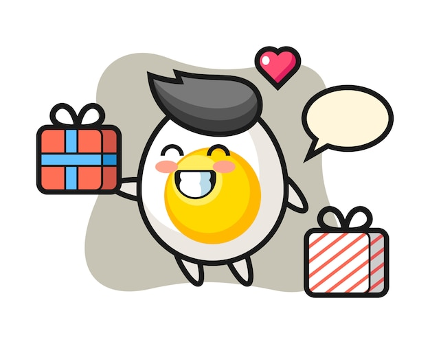 Boiled egg mascot cartoon giving the gift