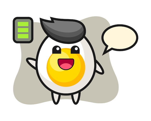 Boiled egg mascot character with energetic gesture