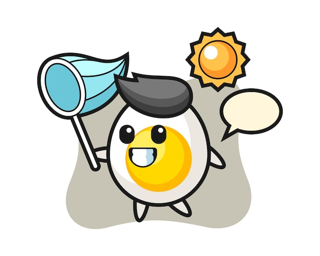 Boiled egg mascot illustration is catching butterfly