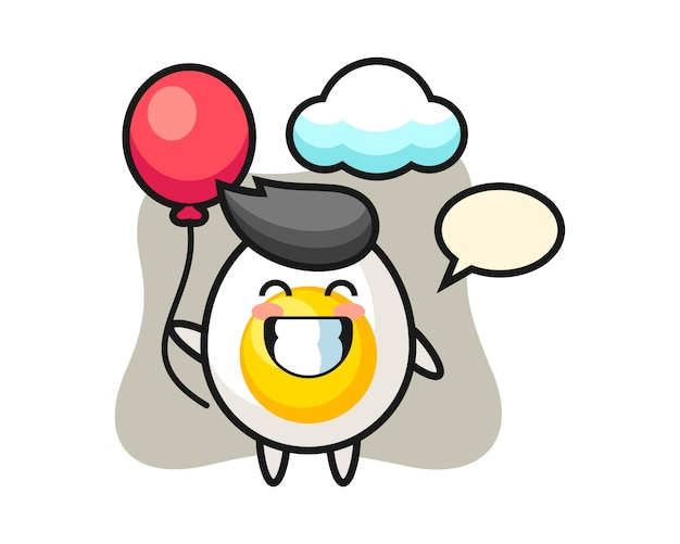 Boiled egg mascot illustration is playing balloon