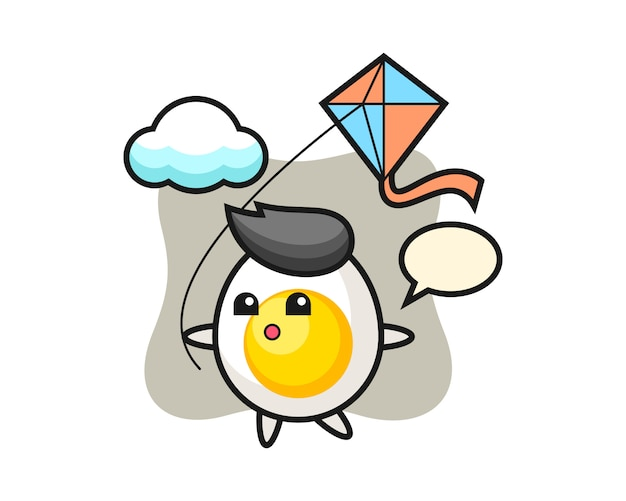 Boiled egg mascot illustration is playing kite