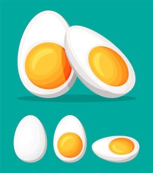 삶은 계란은 녹색 배경에 분리된 반으로 자릅니다. 만화 계란 아이콘입니다. 유제품 및 식료품. 부활절 모형 개념입니다. 평면 벡터 일러스트 레이 션.