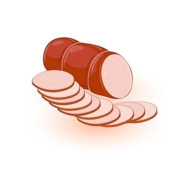 Вареная или копченая жирная колбаса иллюстрация