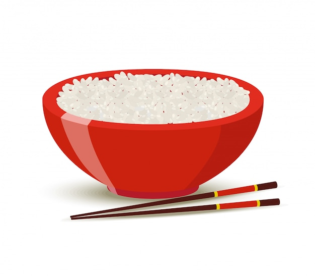 Boiled rice in red bowl.