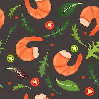 茹でたエビ、唐辛子、ルッコラの葉は暗い背景にミックスします。タイガーエビ。シームレスパターン。