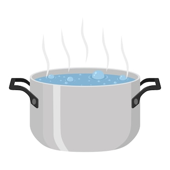 Boiled water for soup in pot