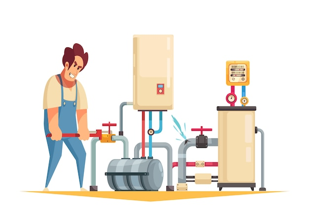 Boiler repair plumber service flat cartoon composition with fixing burst pipes turning off water valve