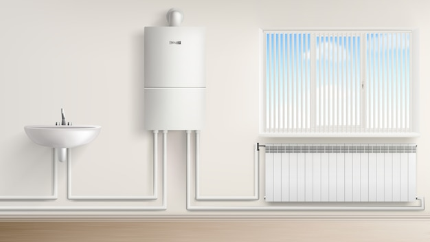 Boiler water heater with radiator and washbasin