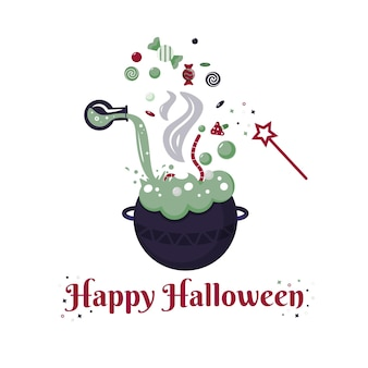 Boiling cauldron with magic potion decorative elements for halloween celebrations candies worm