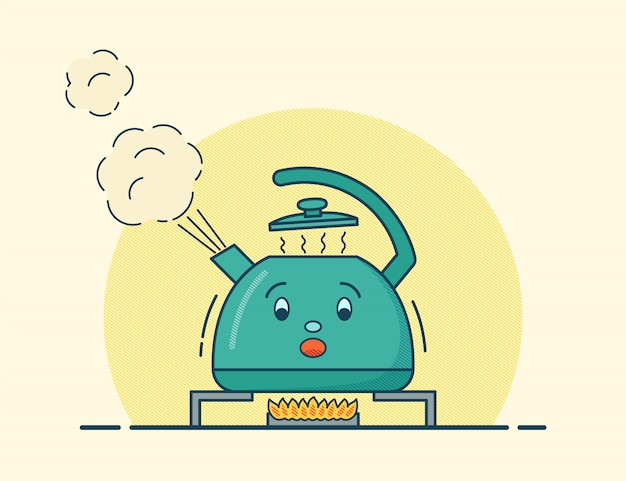 Boiling kettle character in flat .  illustration.