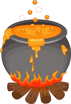 Boiling potion on the fireplace