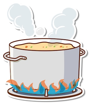 난로에 냄비에 끓는 수프 스티커