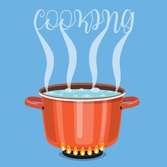 鍋に水を沸騰させます。