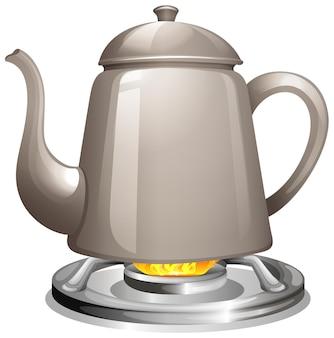 ガスストーブで水を沸騰させる