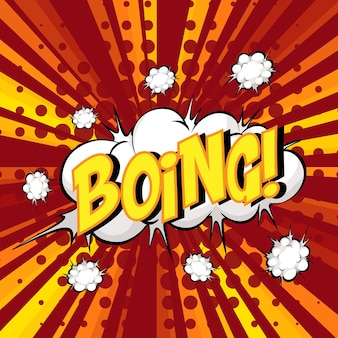 Boing wording comic speech bubble on burst