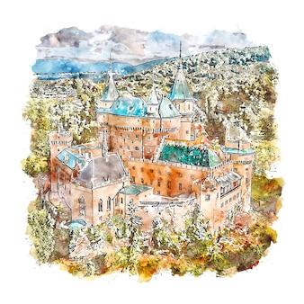 Замок бойнице словакия акварельный эскиз рисованной иллюстрации