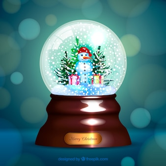 Bokeh background of christmas snowglobe