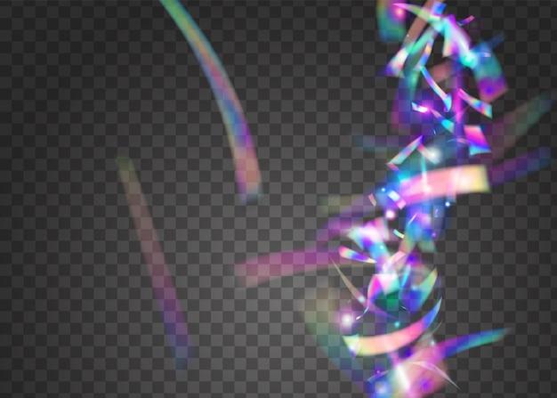나뭇잎 배경. 크리스탈 포일. 홀로그램 반짝임. 홀리데이 아트. 디스코 화려한 배경입니다. 핑크 샤이니 틴셀. 만화경 효과. 파티 요소. 보라색 bokeh 배경