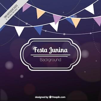 Bokeh background of festa junina with garlands