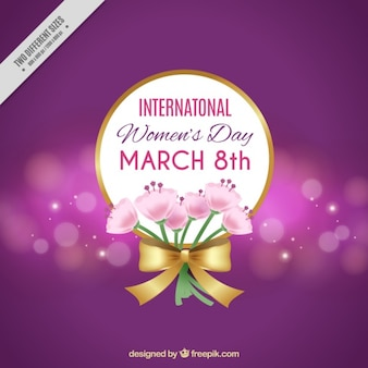 Bokeh background with bouquet for women's day