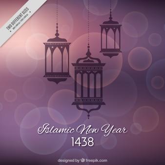 새로운 이슬람 년의 장식 등불 bokeh 배경