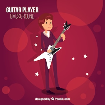 Bokeh background with guitarist boy