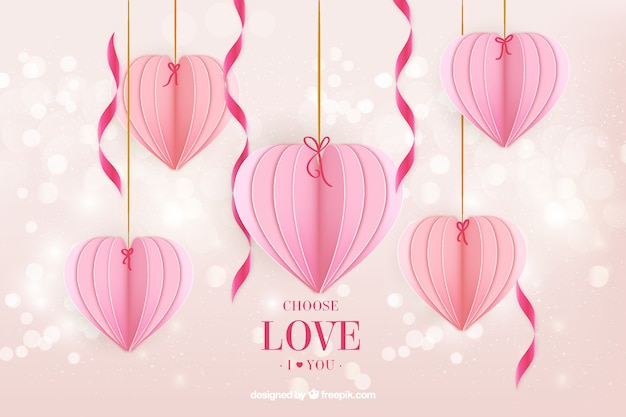 Bokeh background with heart decoration