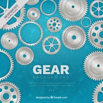 Bokeh background with metallic gears