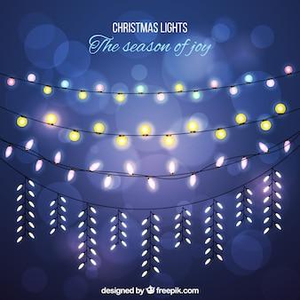 Bokeh фон с приятным рождественские огни