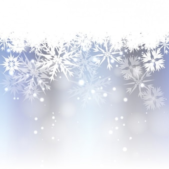 Bokeh background with white snowflakes