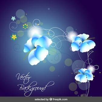 Bokeh blue floral background