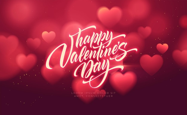 Bokeh 흐리게 심장 모양 반짝 이는 발렌타인 데이 축하를 위해 고급 스러움.